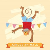 Постер, плакат: Circus Monkey vector animal series