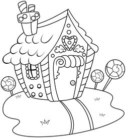 picture of gingerbread house  - Line Art Illustration of a Gingerbread House - JPG