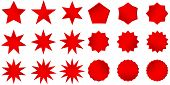 Collection Of Trendy Retro Stars Shapes. Sunburst Design Elements Set. Bursting Rays Clip Art. Red S poster