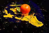 Orange Or Tangerine Covered With Paints. Nutrition And Food Art poster