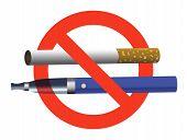 Постер, плакат: No Smoking No Vaping Sign Ban Cigarette And Electronic Cigarette Not Allowed Blue E cigarette And Ci