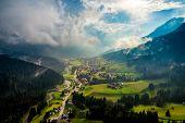 Sappada Italy North-Eastern corner of the Dolomites Alps. Aerial FPV drone flights. poster