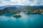 Slovenia - Aerial view resort Lake Bled. Aerial FPV drone photography. Slovenia Beautiful Nature Cas poster