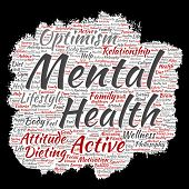 Conceptual mental health or positive thinking paint brush paper word cloud isolated background. Coll poster