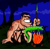 stock photo of loin cloth  - Cartoon caveman cooking a lizard over an open fire - JPG