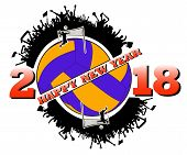 Happy New Year 2018 And  Volleyball poster