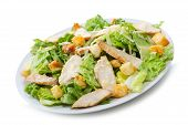 stock photo of caesar salad  - fresh Caesar Salad on the white background - JPG