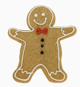 picture of christmas cookie  - Gingerbread man isolated against a white background - JPG
