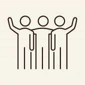 Friendly Team Vector Line Icon. Colleagues, New Project, Mutual Work. Partnership Concept. Vector Il poster