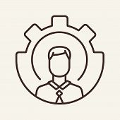 Staff Working Vector Line Icon. Colleagues, Support, Mutual Work. Teamwork Concept. Vector Illustrat poster