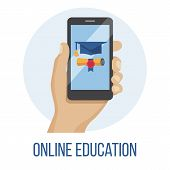 Hand Holding Mobile Phone With Educational App In The Screen - Distant E-learning E-learning Educati poster