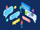 Isometric Review Vector. Feedback Concept With People And Speech Bubbles. Customer Write Review Onli poster