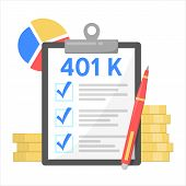 401k Financial Plan, Investment In Retirement. Pension poster