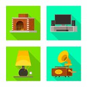 Vector Design Of Comfort And Equipment Icon. Set Of Comfort And Furniture Vector Icon For Stock. poster