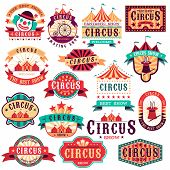 Circus Labels. Vintage Carnival Show, Circus Signboard. Entertaining Event Festival. Paper Invitatio poster