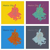 Set Of Flat Color Map Of Mexico City, Mexico. City Plan Of Mexico City. Vector Illustration poster