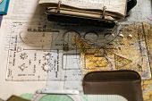 Compass, Notes, Protractor And Map From Ww2 Map Room. Orienteering Equipment. poster