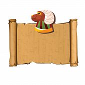 Ancient Egypt Papyrus Scroll With Ram Head Cartoon Vector Illustration. Ancient Paper With Hieroglyp poster