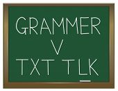 pic of grammar  - Illustration depicting a green chalkboard with a grammar concept written on it - JPG