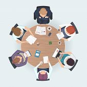 Round Table Top View. Business People Sitting Meeting Corporate Workspace Brainstorming Working Team poster