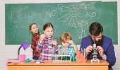 Observe Reaction. Science Is Always The Solution. School Chemistry Experiment. Explaining Chemistry  poster