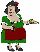 foto of senorita  - This illustration depicts a Mexican woman holding a plate of food and carrying a bottle of beer - JPG