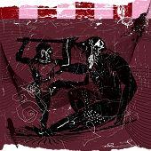 foto of ogre  - Vector dark Illustration og Odysseus and Ogre - JPG