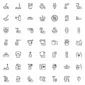 Hygiene Line Icons Set. Linear Style Symbols Collection Outline Signs Pack. Vector Graphics. Set Inc poster