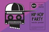 Rap Battle Sign With Skull And Two Microphones. Retro Style Illustration. Hip-hop Party. poster