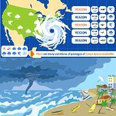 Hurricane Storm Banner Set. Flat Illustration Of Hurricane Storm Vector Banner Set For Web Design poster