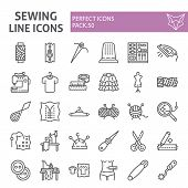 Sewing Line Icon Set, Tailor Symbols Collection, Vector Sketches, Logo Illustrations, Dressmaking Si poster