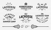 Lacrosse Emblems, Logo, Badges Templates. Set Of 6 Lacrosse Logo And 3 Design Elements.  Lacrosse St poster