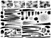vector ink brush strokes set