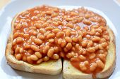 Baked Beans In Tomato Sauce On Thick White Toast Served On A White Plate poster