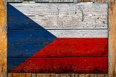 National Flag Of Czech On A Wooden Wall Background.the Concept Of National Pride And Symbol Of The C poster