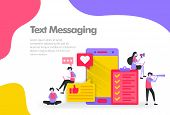 Text Messaging Illustration Concept, Send And Receive Messages. Modern Flat Design Concept For Landi poster