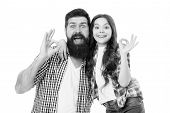 Casual And Informal. Bearded Man And Cute Girl In Casual Outfit Gesturing Ok. Happy Father And Small poster