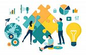 Teamwork Concept. People Connecting Puzzle Elements. Business Team. Symbol Of Teamwork, Cooperation, poster