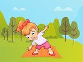 Small Girl Vector, Forest Or Park With Trees. Kid Leading Active Lifestyle, Exercising And Leading A poster