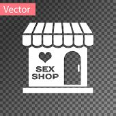 White Sex Shop Building With Striped Awning Icon Isolated On Transparent Background. Sex Shop, Onlin poster