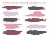 Vintage Label Brush Stroke Backgrounds, Paint Or Ink Smudges Vector For Tags And Stamps Design. Pain poster