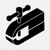 Clamping Machine Icon. Simple Illustration Of Clamping Machine Vector Icon For Web poster
