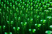 Glass Bottle Texture Pattern. Glass Bottle At Factory For Production Of Glass Containers. Green Beer poster