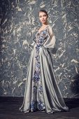 A full length portrait of a mysterious lady in a fluffy silver dress with flowers posing indoor. Fai poster