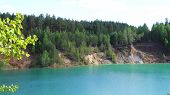 Beautiful Forest Reflecting On Calm Lake Shore. Stock Footage. Calm Clean Lake In The Forest poster