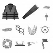 Isolated Object Of Nautical And Voyage Icon. Collection Of Nautical And Seafaring Vector Icon For St poster