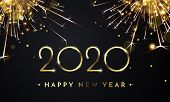 Happy New Year Of Glitter Gold Fireworks. Vector Golden Glittering Text And 2020 Numbers With Sparkl poster