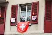 Decoration On A Building On Swiss National Day. National Holiday Of Switzerland, Set On 1st August.  poster