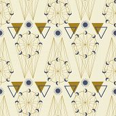 Gold And Purple Celestial Elements In A Seamless Pattern Design poster