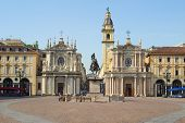 stock photo of torino  - Piazza San Carlo royal square in Turin  - JPG